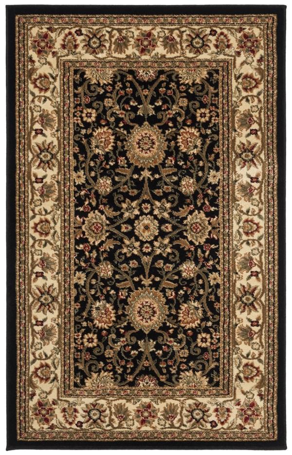 Black, Creme (A) Traditional / Oriental Area Rug