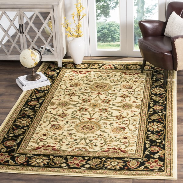 Ivory, Black (B) Traditional / Oriental Area Rug