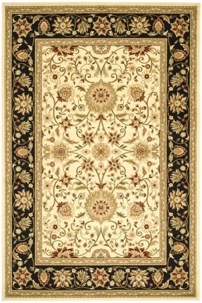 Ivory, Black (B) Traditional / Oriental Area Rug
