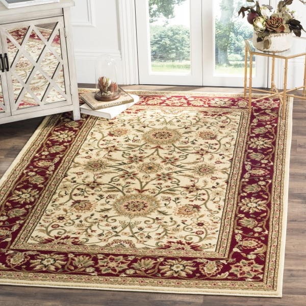 Ivory, Red (K) Traditional / Oriental Area Rug