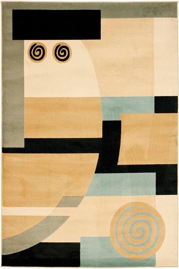 Black, Ivory (9091) Contemporary / Modern Area Rug