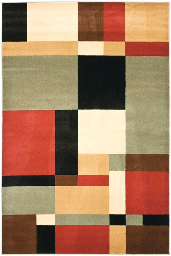 Black, Ivory (9091) Geometric Area Rug