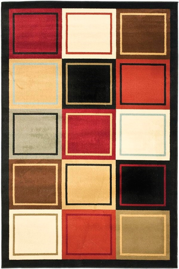 Black, Red (9191) Contemporary / Modern Area Rug