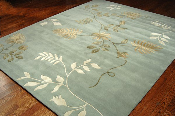 Light Blue (A) Floral / Botanical Area Rug