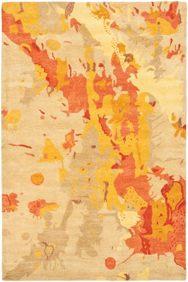 Beige, Orange (A) Contemporary / Modern Area Rug