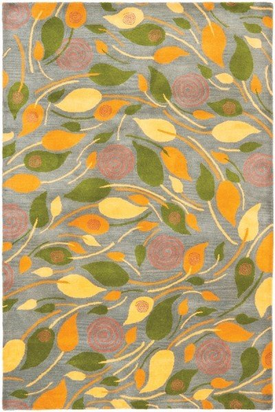 Grey, Yellow (A) Floral / Botanical Area Rug