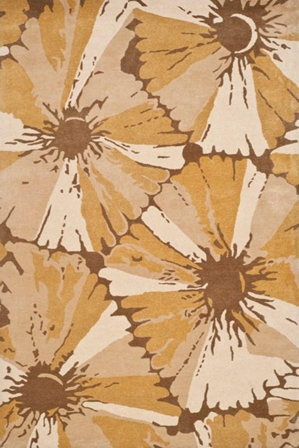 Brown, Ivory (B) Floral / Botanical Area Rug