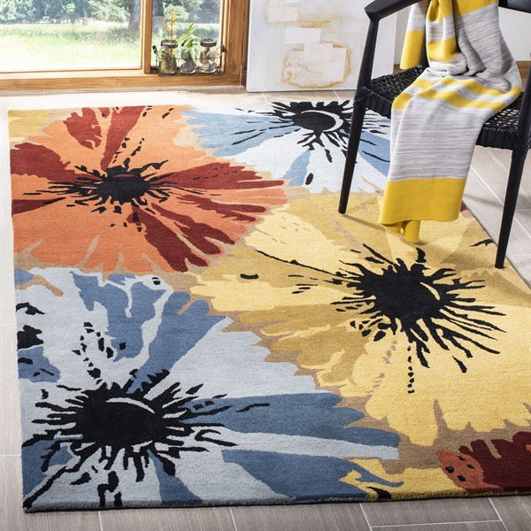 Red, Blue, Yellow (D) Floral / Botanical Area Rug