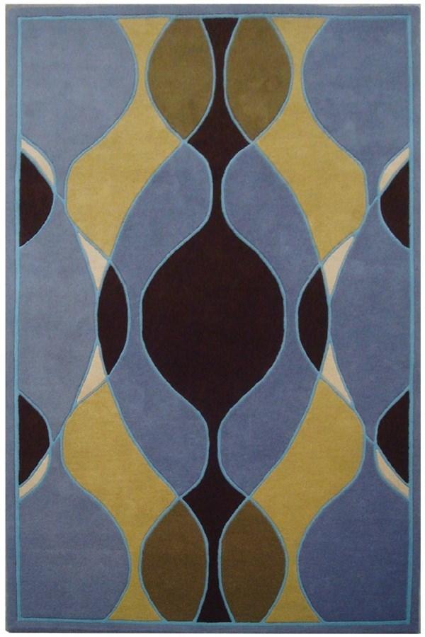 Blue, Gold (B) Contemporary / Modern Area Rug