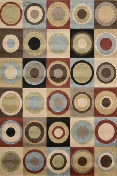 Ivory, Rust (A) Contemporary / Modern Area Rug