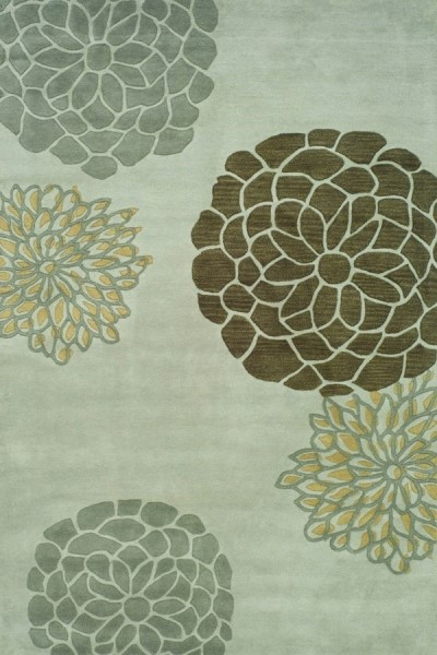 Light Grey (A) Floral / Botanical Area Rug