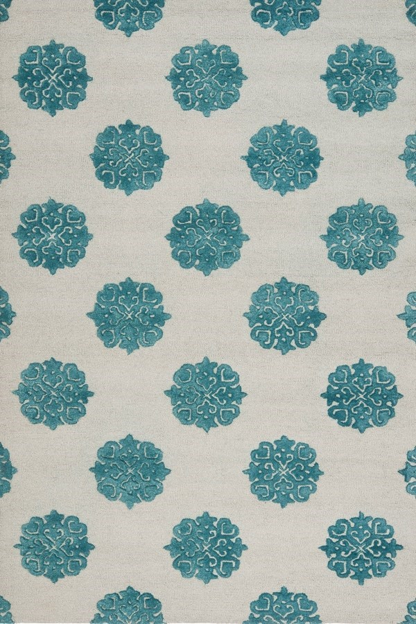 Ivory, Light Blue (A) Transitional Area Rug