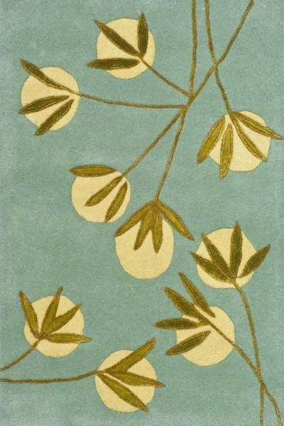 Light Blue, Green (A) Floral / Botanical Area Rug