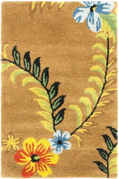 Brown, Yellow (A) Floral / Botanical Area Rug