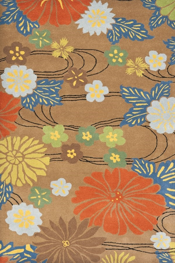 Brown, Blue (A) Floral / Botanical Area Rug