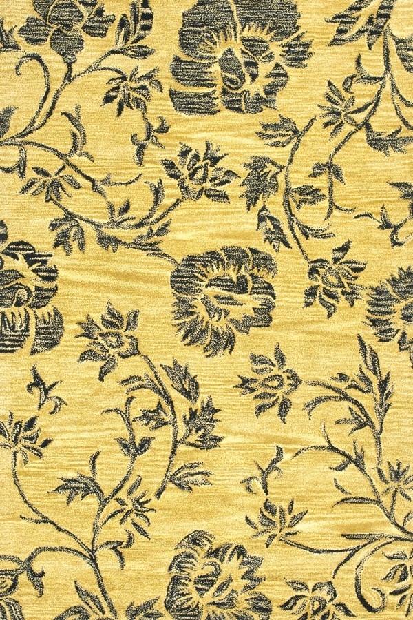 Gold, Black (A) Floral / Botanical Area Rug