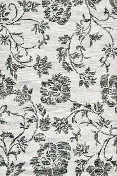 Grey, Black (B) Floral / Botanical Area Rug