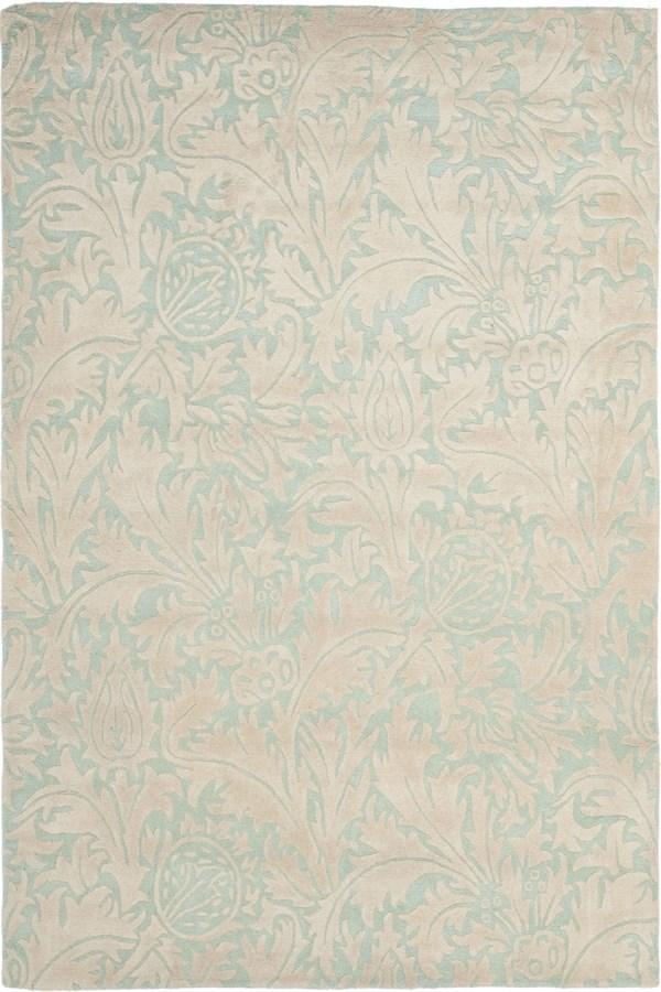 Light Blue, Beige (A) Floral / Botanical Area Rug