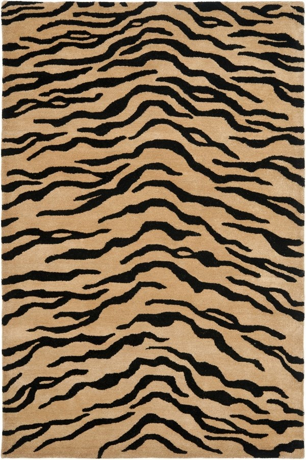 Gold, Black (A) Contemporary / Modern Area Rug