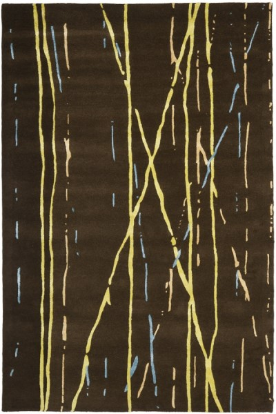 Brown, Yellow (A) Contemporary / Modern Area Rug