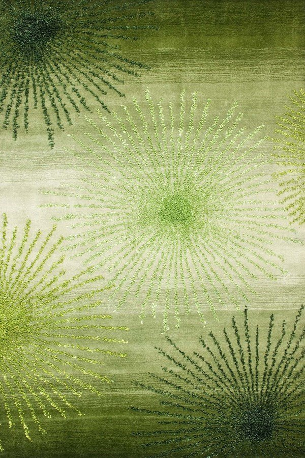 Green, Ivory (G) Contemporary / Modern Area Rug