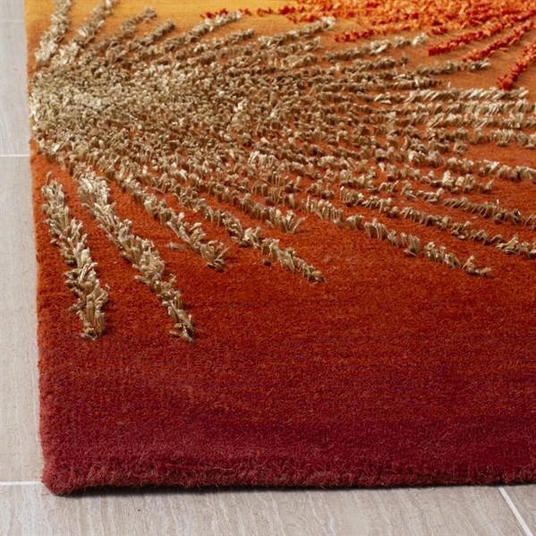 Rust, Orange (R) Contemporary / Modern Area Rug
