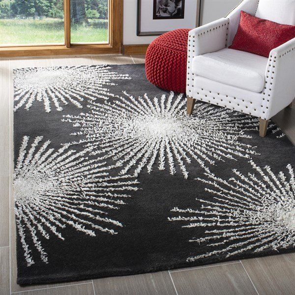 Charcoal, Ivory (H) Contemporary / Modern Area Rug
