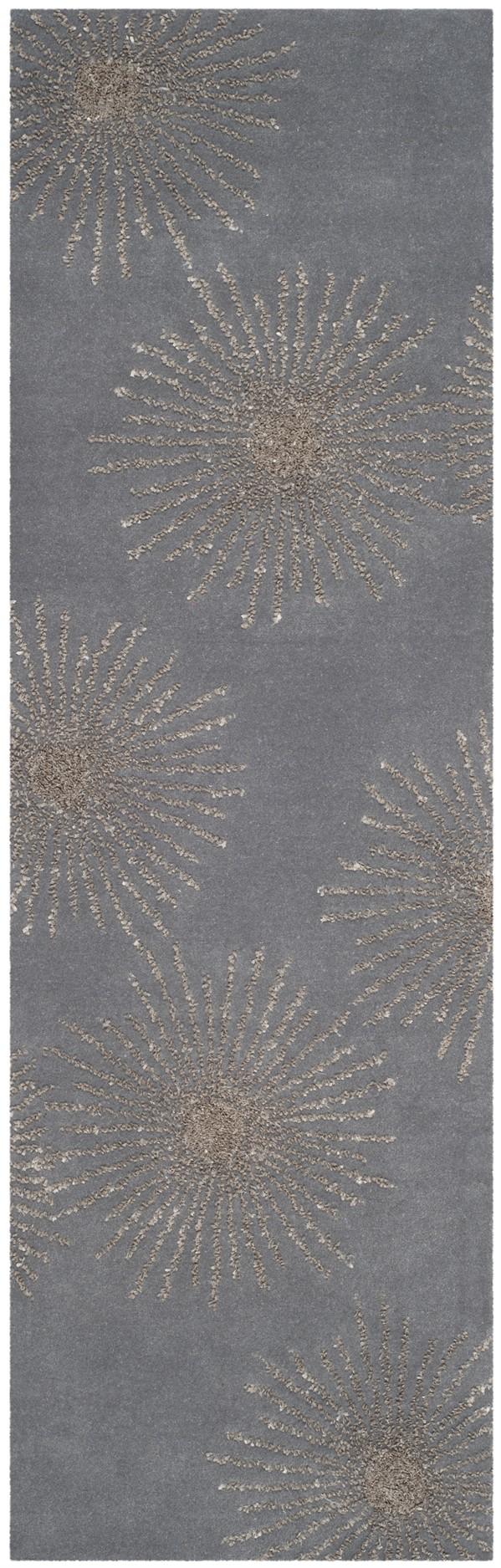 Dark Grey, Silver (E) Contemporary / Modern Area Rug