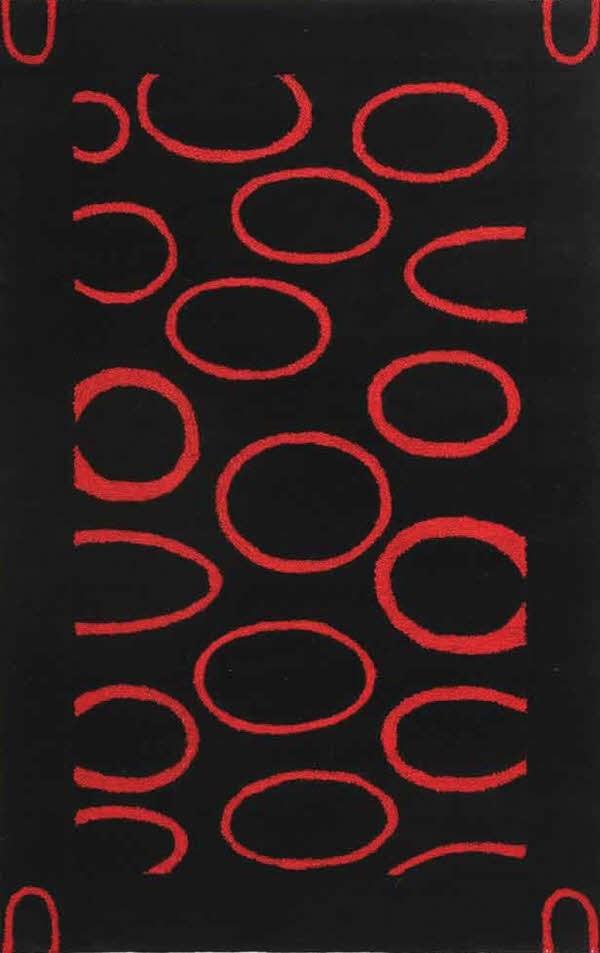 Black, Red (B) Contemporary / Modern Area Rug