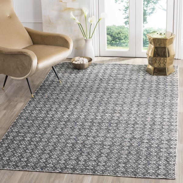 Ivory, Charcoal (C) Contemporary / Modern Area Rug