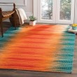 Product Image of Teal, Red (A) Contemporary / Modern Area Rug