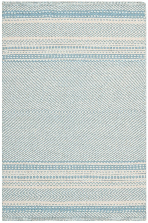 Light Blue, Ivory (A) Striped Area Rug
