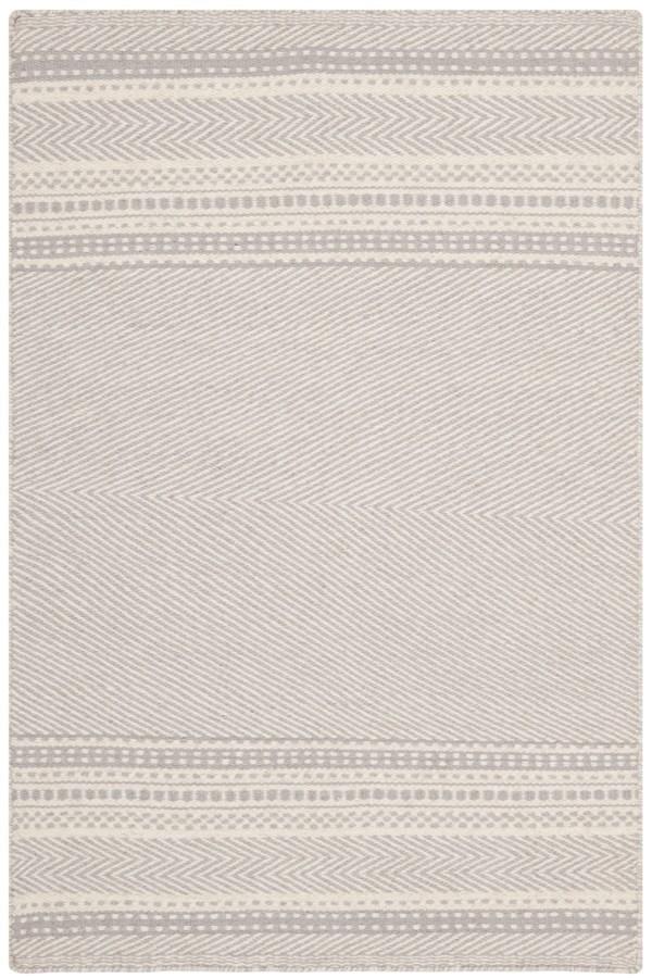 Grey, Ivory (B) Striped Area Rug