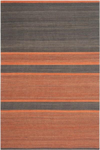 Dark Grey, Orange (C) Striped Area Rug