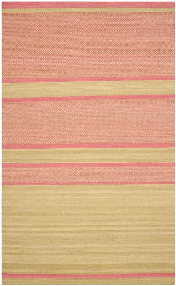 Lime, Pink (E) Striped Area Rug