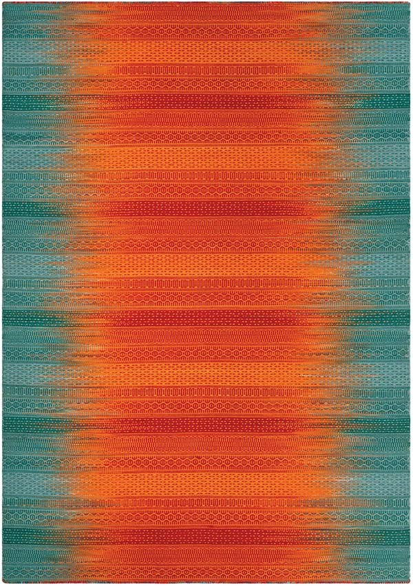 Teal, Red (A) Contemporary / Modern Area Rug