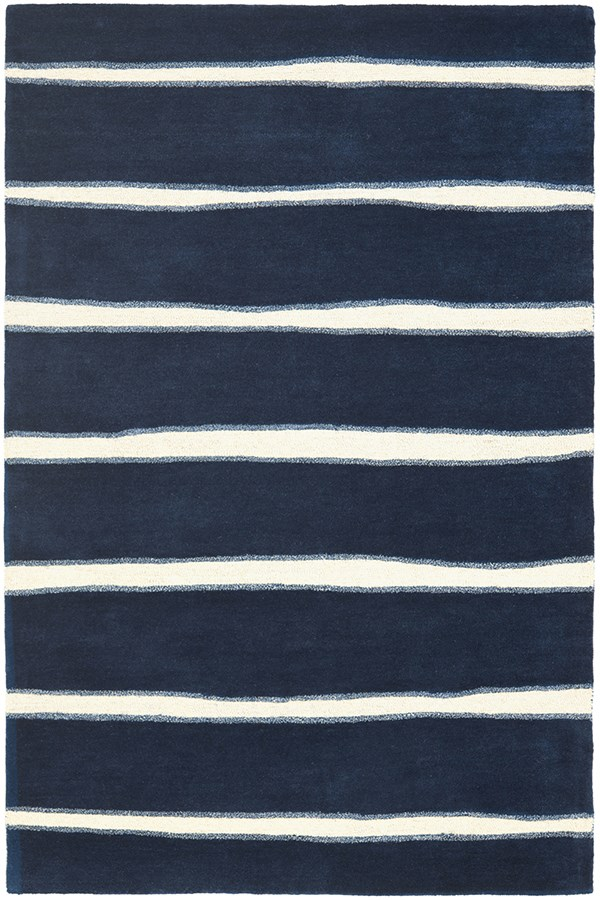 Wrought Iron, Navy (MSR-3617C) Striped Area Rug