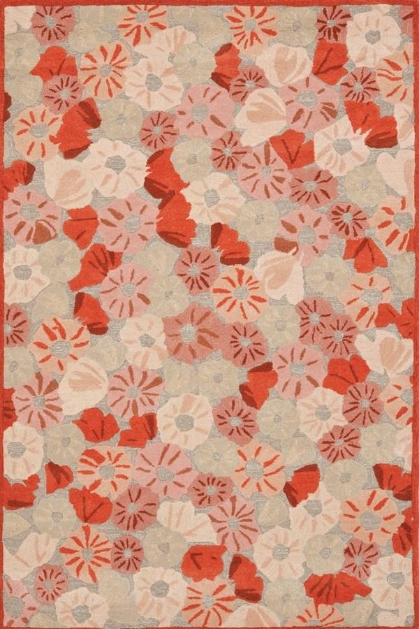 Cayenne Red (MSR-3625B) Floral / Botanical Area Rug