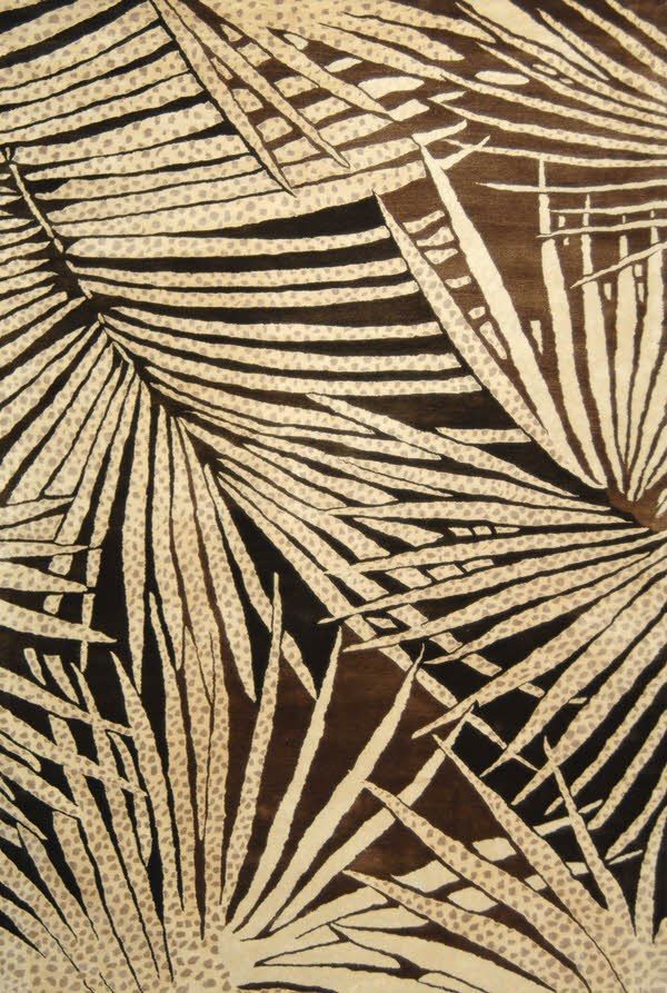 Coconut, Brown (MSR-3268A) Floral / Botanical Area Rug