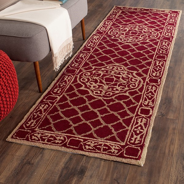 Maroon, Gold (B) Traditional / Oriental Area Rug