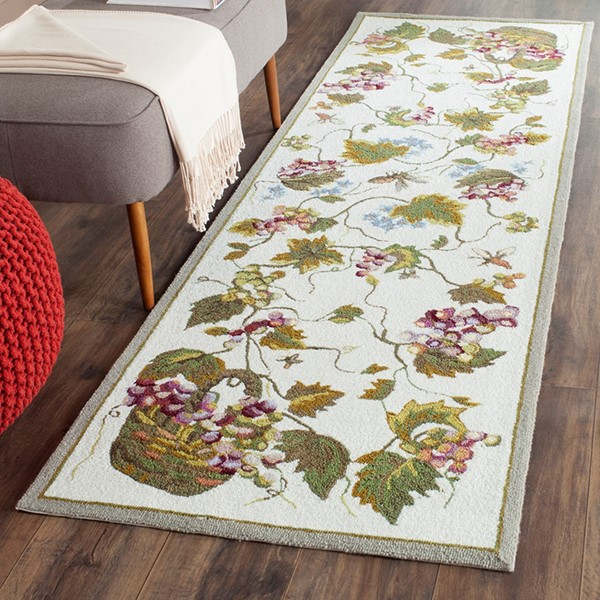 White (B) Floral / Botanical Area Rug