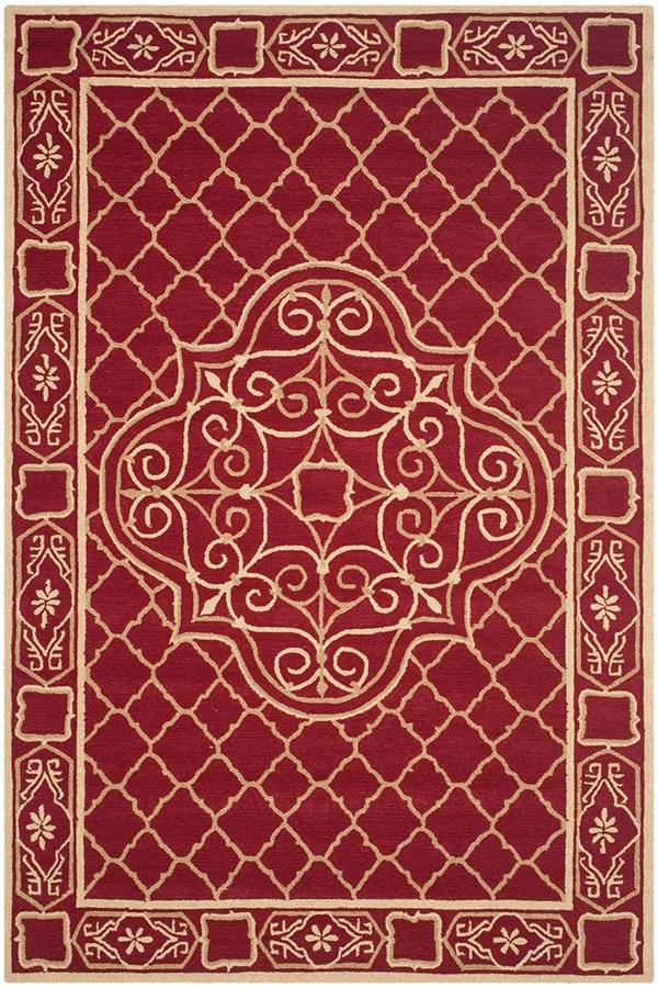 Maroon, Gold (B) Traditional / Oriental Area Rug