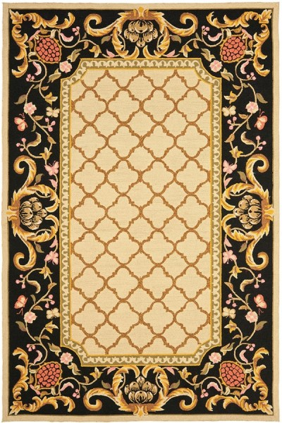 Ivory, Black (A) Traditional / Oriental Area Rug