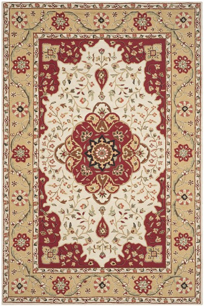 Cream, Red (F) Traditional / Oriental Area Rug