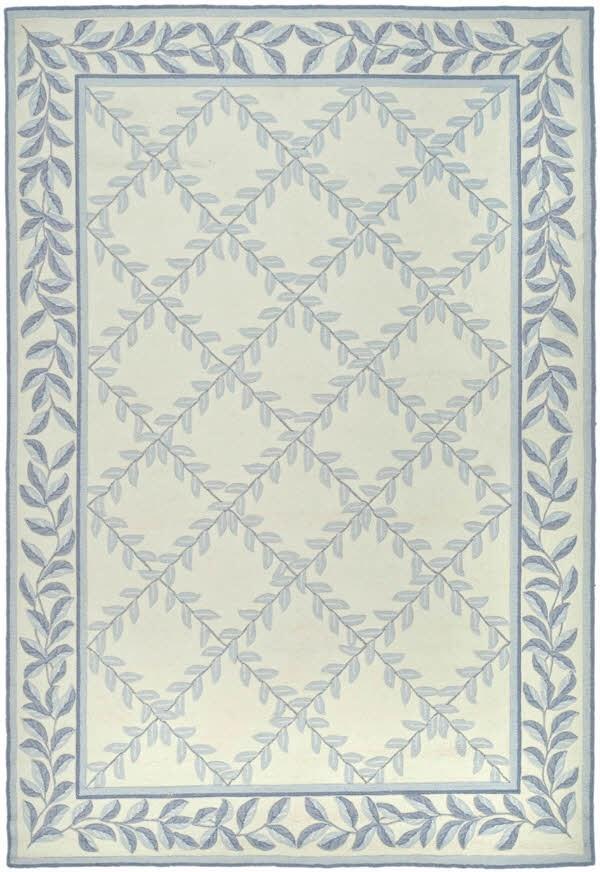 Ivory, Light Blue (A) Bordered Area Rug