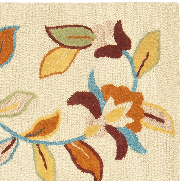 Beige, Yellow (A) Floral / Botanical Area Rug