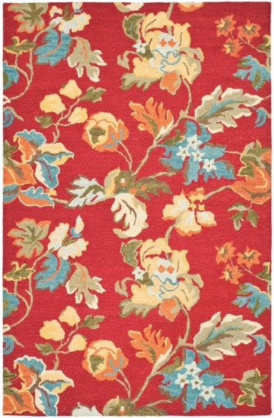 Red, Blue (A) Floral / Botanical Area Rug