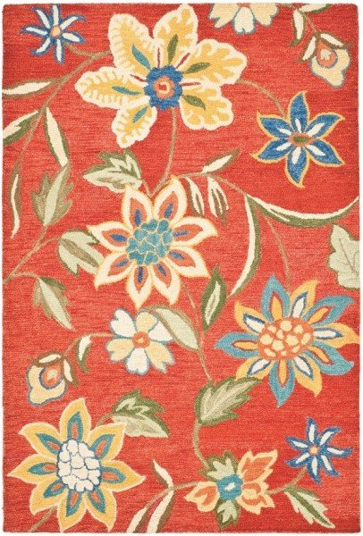 Rust, Blue (A) Floral / Botanical Area Rug