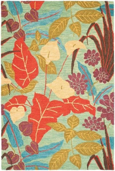 Blue, Gold (A) Floral / Botanical Area Rug