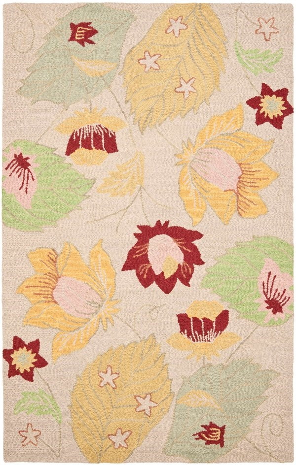 Ivory, Yellow (A) Floral / Botanical Area Rug